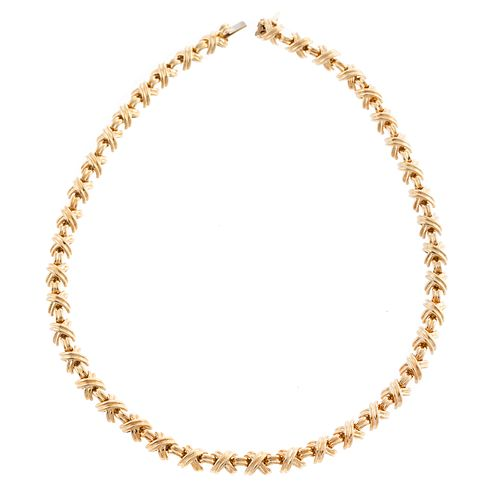"""A Tiffany & Co Signature """"X"""" Necklace in 18K"""