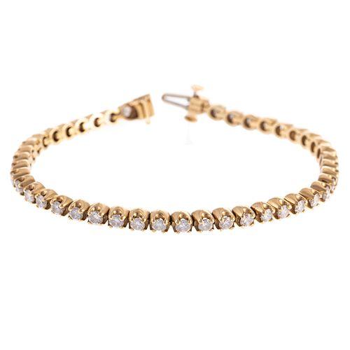 A 3.50 ct Diamond Line Bracelet in 14K