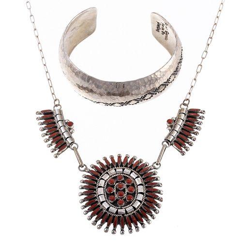 A Sterling Coral Zuni Necklace & Simon Garcia Cuff