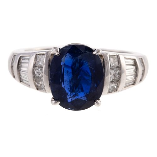 An Unheated Sapphire & Diamond Ring in Platinum