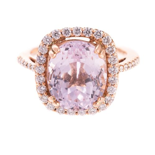A 14K Rose Gold Kunzite & Diamond Ring
