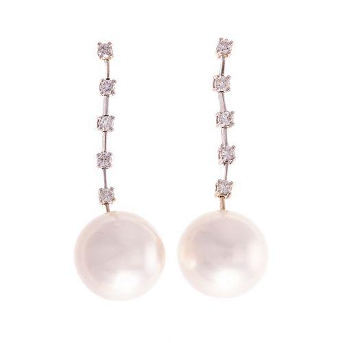 A Pair of 18K South Sea Pearl & Diamond Earrings