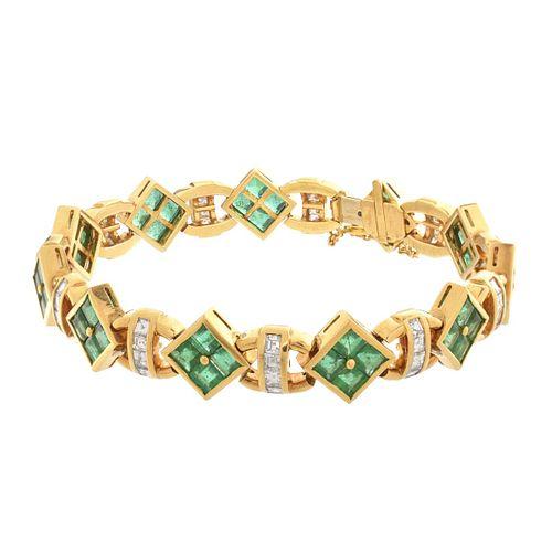 Emerald, Diamond and 18K Bracelet
