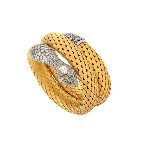 Diamond and 18K Snake Bangle