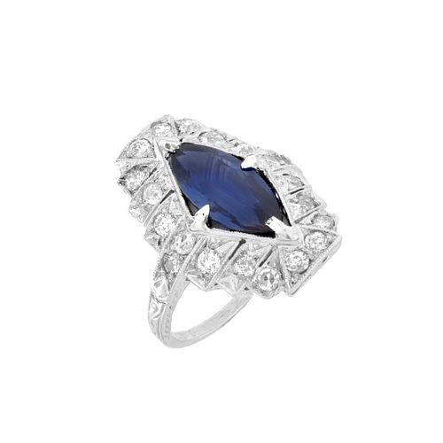 Deco Sapphire, Diamond and Platinum Ring