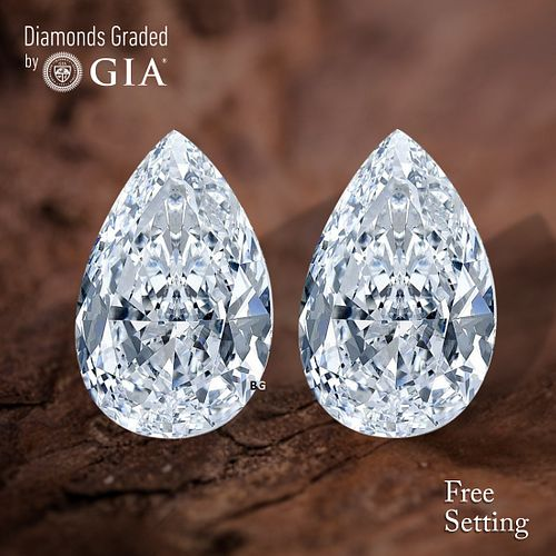 8.13 carat diamond pair TYPE IIA Pear cut Diamond GIA Graded 1) 4.01 ct, Color D, IF 2) 4.12 ct, Color D, IF. Unmounted. Appraised Value: $1,056,900