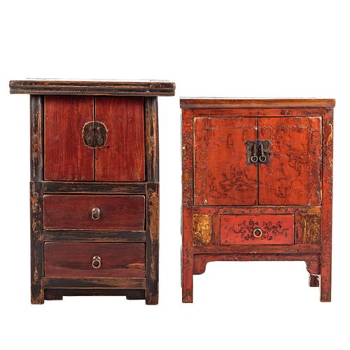 Two Asian Style Softwood Cabinets