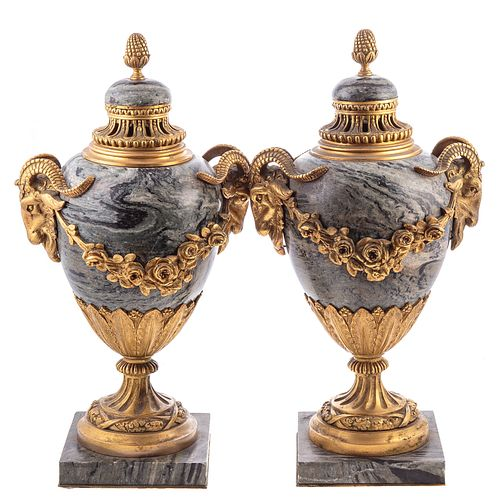 Pair of Napoleon III Gilt Bronze/Marble Urns