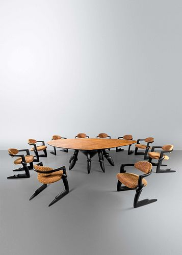 Wendell Castle (1932-2018) Seven Days of the Week Dining Table and Ten Chairs, 1997