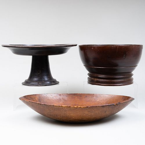 Group of Three Rustic Wood Tablewares