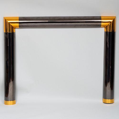 Karl Springer Polished Gunmetal and Brass Fire Mantel