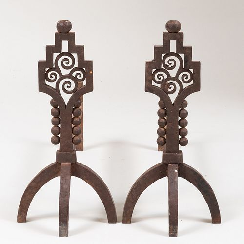 Pair of Art Deco Wrought Iron Andirons, Attributed to Paul Kiss