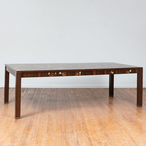Louis Cane (b. 1943): Large Inlaid Oak Dining Table