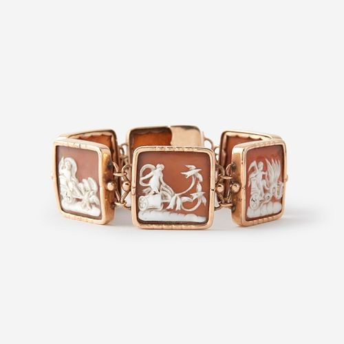 A cameo and low karat gold bracelet,