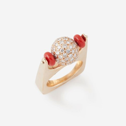 A fourteen karat gold, diamond, and coral ring,