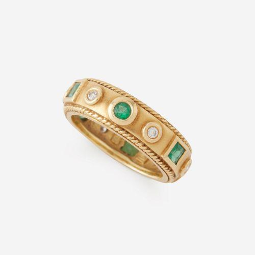 An eighteen karat gold, diamond, and emerald ring, Penny Preville, Amulet