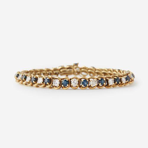 An eighteen karat gold, sapphire, and diamond bracelet,