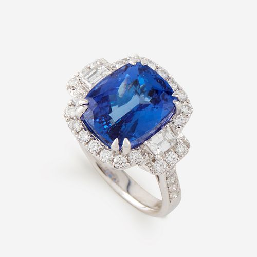 A tanzanite, diamond, and fourteen karat white gold ring,