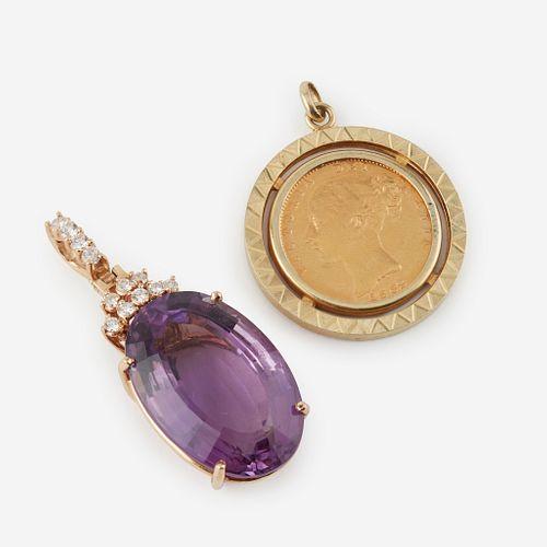 Two gold pendants,