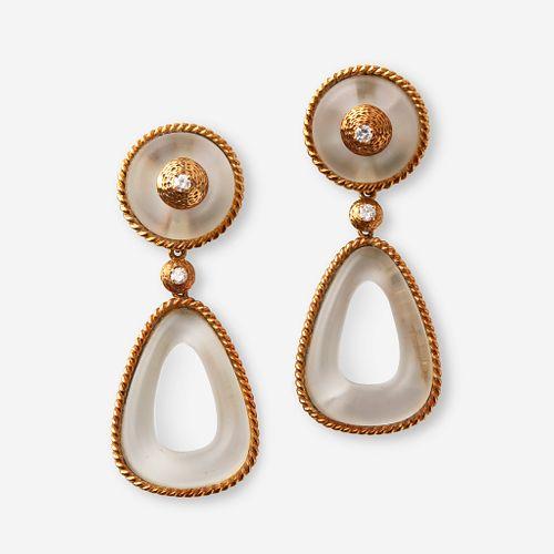 A pair of eighteen karat gold, diamond, and glass earrings,