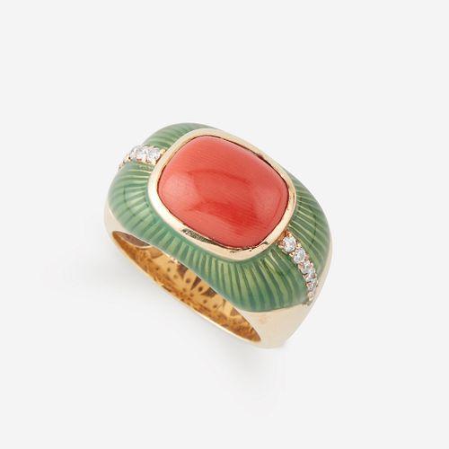 A coral, diamond, enamel, and fourteen karat gold ring,