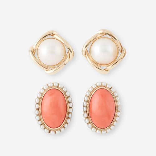 Two pairs of fourteen karat gold and gem-set earrings,
