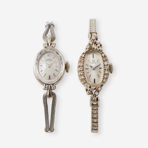 A collection of two fourteen karat white gold and diamond wristwatches, Omega & Girard Perregaux,