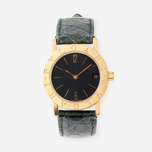 An eighteen karat gold strap wristwatch with date, Bulgari, Bulgari