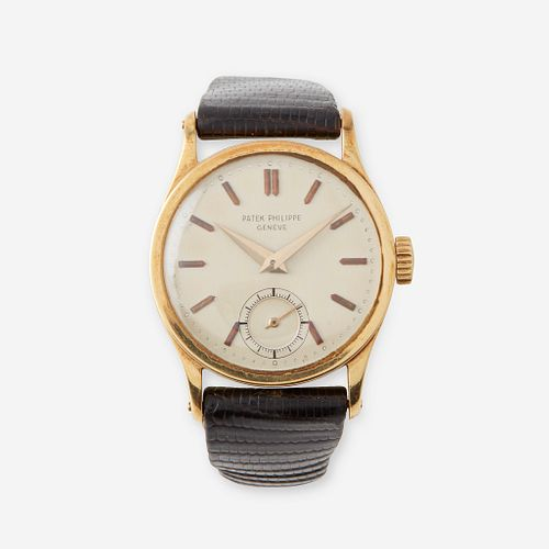 An eighteen karat gold strap wristwatch, Patek Philippe, Calatrava, circa late 1930's