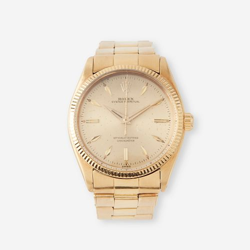 An eighteen karat gold, automatic, bracelet wristwatch, Rolex, Oyster Perpetual, c. 1947