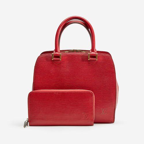 A red epi leather handbag and matching wallet, Louis Vuitton, Pont Neuf PM, Paris