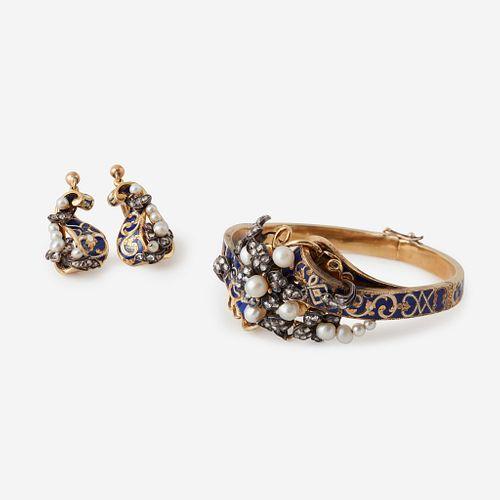 A Victorian eighteen karat gold, enamel, diamond, and pearl suite,
