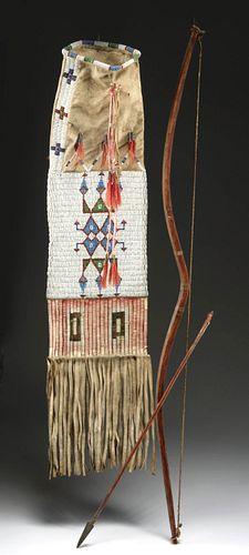 19th C. Native American Plains Bow, Arrow + Pipe Bag