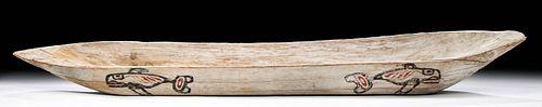 Early 20th C. Kwakwaka'wakw Wood Feast Bowl Whales