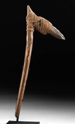 Late 18th C. Tongan Wood & Stone Hafted Adze