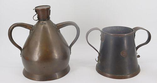 2 Antique English Copper Measures.