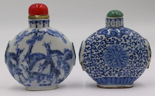 (2) Chinese Blue and White Snuff Bottles.