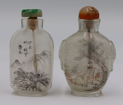 (2) Reverse Painted Rock Crystal Snuff Bottles.