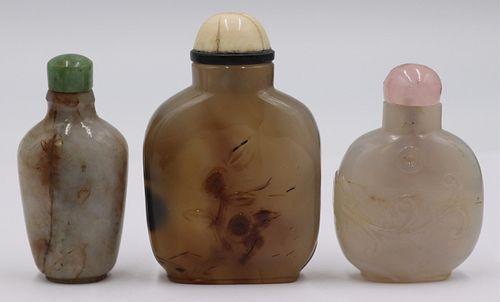(3) Assorted Carved Snuff Bottles.