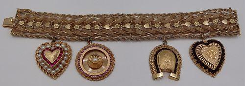 JEWELRY. 14kt Gold Charm Bracelet with (4) Charms.