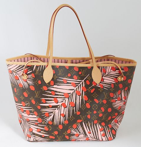 Louis Vuitton Tricolor Monogram Coated Canvas Neverfull Jungle Dot Shoulder Bag, with vachetta leather straps, opening to a pink interior with side zi