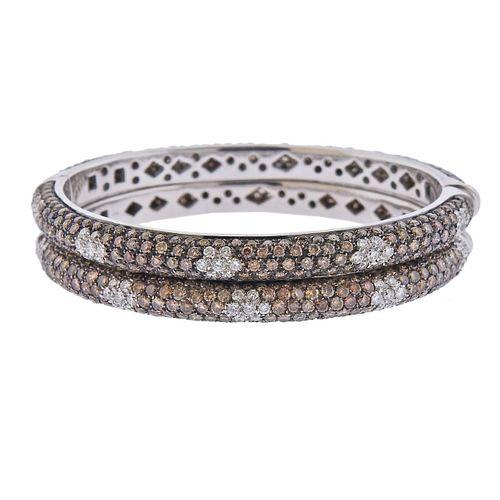 18k Gold 16ctw Fancy Diamond Bangle Bracelet Set