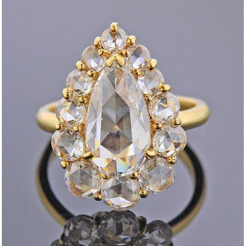 18k Gold Rose Cut Diamond Ring