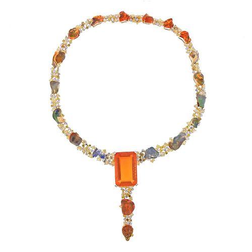 Micheal Youssoufian 59.57ct Fire Opal 24.08ctw Diamond 18k Gold Necklace