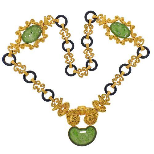 Impressive Carved Nephrite Onyx 18k Gold Necklace