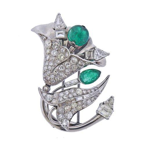Mid Century Platinum Diamond Emerald Brooch Pin