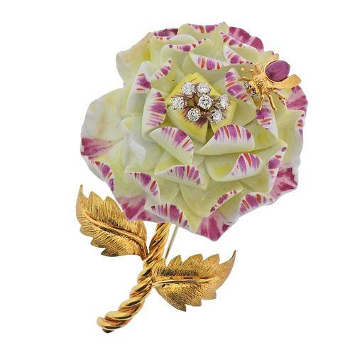 David Webb 18k Gold Diamond Porcelain Ruby Flower Insect Brooch Pin