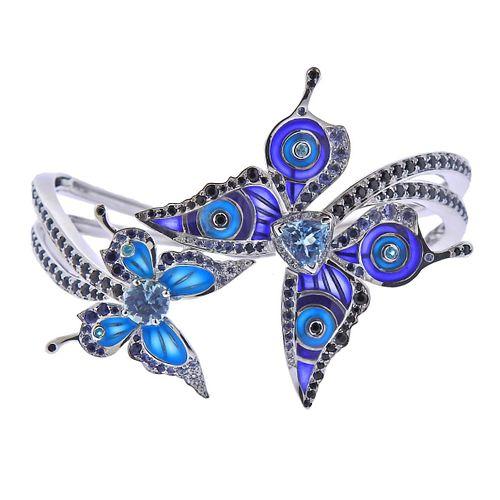 Lalique Psyche de Jour 18k Gold Glass Diamond Sapphire Topaz Butterfly Bracelet