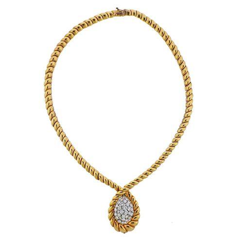 Van Cleef & Arpels France 18k Gold Diamond Pendant Necklace