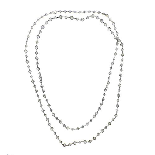 Platinum 23.56ctw Old Mine Diamond By the Yard Long Necklace